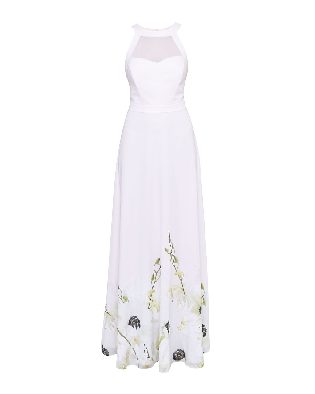 Adanya Pearly Petals Maxi Dress, Pink - sleeve style: sleeveless; style: maxi dress; predominant colour: white; occasions: evening; length: floor length; fit: body skimming; fibres: polyester/polyamide - 100%; neckline: crew; sleeve length: sleeveless; pattern type: fabric; pattern: florals; texture group: woven light midweight; season: s/s 2016; wardrobe: event