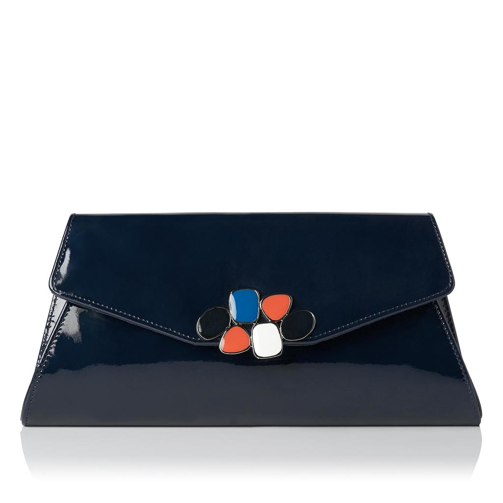 Phebe Patent Navy Clutch - predominant colour: navy; secondary colour: bright orange; occasions: evening; type of pattern: standard; style: clutch; length: hand carry; size: standard; material: leather; pattern: plain; finish: patent; embellishment: jewels/stone; season: s/s 2016; wardrobe: event