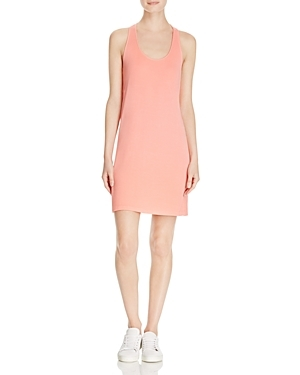 Ribbed Cross Back Dress - length: mid thigh; neckline: round neck; fit: tight; pattern: plain; sleeve style: sleeveless; style: vest; predominant colour: pink; occasions: casual; fibres: viscose/rayon - stretch; sleeve length: sleeveless; texture group: jersey - clingy; pattern type: fabric; season: s/s 2016; wardrobe: highlight; embellishment: contrast fabric; embellishment location: back