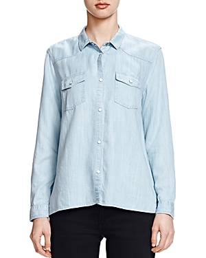 Bleached Denim Shirt - neckline: shirt collar/peter pan/zip with opening; pattern: plain; style: shirt; predominant colour: pale blue; occasions: casual; length: standard; fibres: cotton - 100%; fit: loose; sleeve length: long sleeve; sleeve style: standard; texture group: denim; bust detail: bulky details at bust; pattern type: fabric; season: s/s 2016; wardrobe: basic