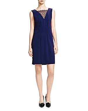 Contrast Lace Crepe Dress - style: shift; neckline: v-neck; fit: tailored/fitted; pattern: plain; sleeve style: sleeveless; bust detail: sheer at bust; predominant colour: navy; occasions: evening; length: just above the knee; fibres: polyester/polyamide - 100%; sleeve length: sleeveless; texture group: crepes; pattern type: fabric; embellishment: lace; season: s/s 2016; wardrobe: event