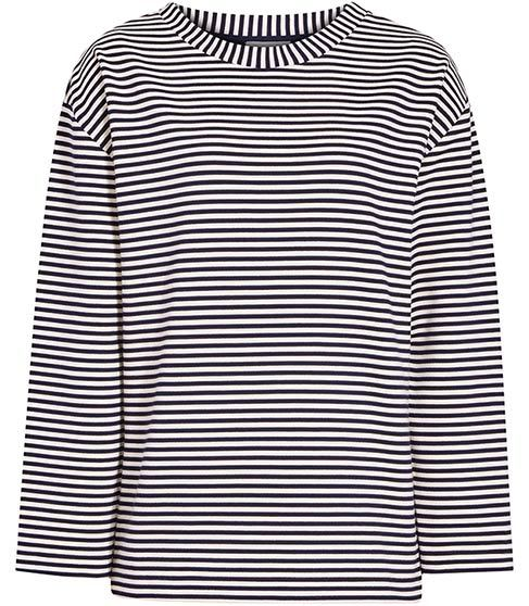 Tallie Striped Long Sleeved Top - neckline: round neck; pattern: horizontal stripes; secondary colour: white; predominant colour: black; occasions: casual, creative work; length: standard; style: top; fibres: polyester/polyamide - stretch; fit: body skimming; sleeve length: 3/4 length; sleeve style: standard; trends: monochrome; pattern type: fabric; texture group: jersey - stretchy/drapey; pattern size: big & busy (top); season: s/s 2016; wardrobe: basic