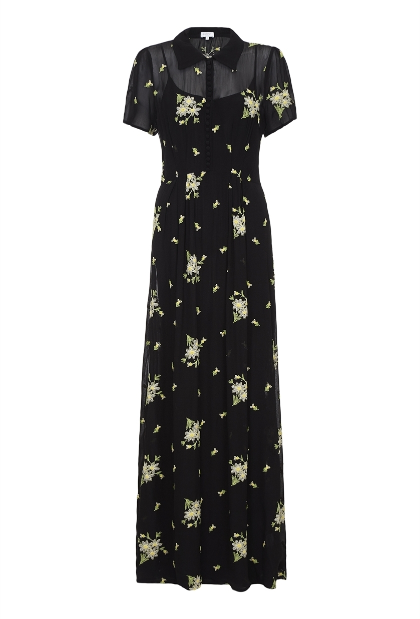 Christy Dress Black - neckline: shirt collar/peter pan/zip with opening; style: maxi dress; length: ankle length; bust detail: sheer at bust; secondary colour: ivory/cream; predominant colour: black; occasions: evening; fit: body skimming; fibres: polyester/polyamide - 100%; sleeve length: short sleeve; sleeve style: standard; pattern type: fabric; pattern: patterned/print; texture group: other - light to midweight; multicoloured: multicoloured; season: s/s 2016; wardrobe: event