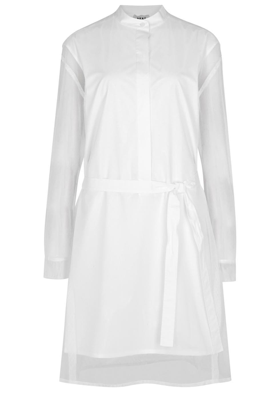 White Layered Stretch Cotton Shirt Dress - style: shirt; pattern: plain; predominant colour: white; occasions: casual; length: just above the knee; fit: body skimming; neckline: collarstand; fibres: cotton - stretch; sleeve length: long sleeve; sleeve style: standard; texture group: cotton feel fabrics; pattern type: fabric; season: s/s 2016; wardrobe: basic