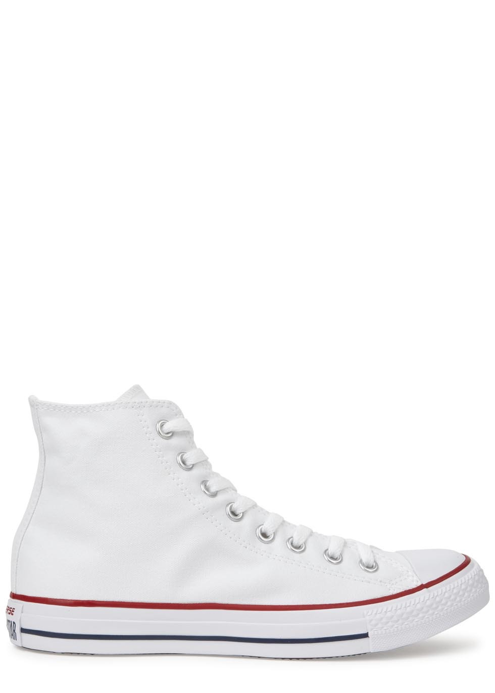 Chuck Taylor White Hi Top Trainers - predominant colour: white; occasions: casual; material: fabric; heel height: flat; toe: round toe; style: trainers; finish: plain; pattern: plain; season: s/s 2016; wardrobe: basic
