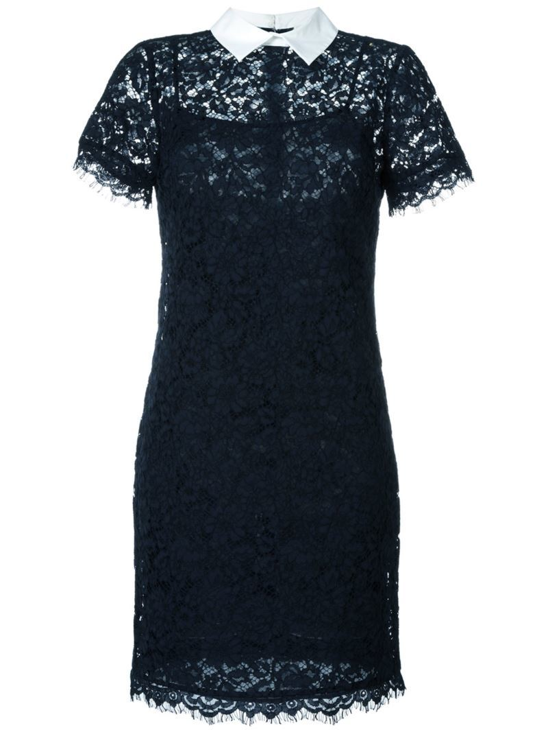 Short Sleeve Lace Dress, Women's, Blue - style: shift; length: mid thigh; fit: tailored/fitted; bust detail: sheer at bust; secondary colour: white; predominant colour: navy; occasions: evening; fibres: cotton - mix; neckline: no opening/shirt collar/peter pan; sleeve length: short sleeve; sleeve style: standard; texture group: lace; pattern type: fabric; pattern: patterned/print; embellishment: lace; season: s/s 2016; wardrobe: event