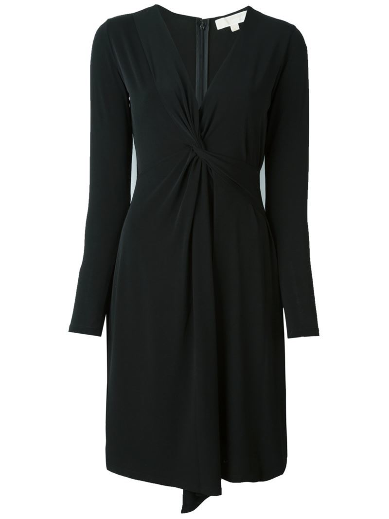 Wrap Detail V Neck Dress, Women's, Black - style: faux wrap/wrap; neckline: v-neck; pattern: plain; predominant colour: black; occasions: evening; length: on the knee; fit: body skimming; fibres: polyester/polyamide - stretch; sleeve length: long sleeve; sleeve style: standard; pattern type: fabric; texture group: jersey - stretchy/drapey; season: s/s 2016; wardrobe: event