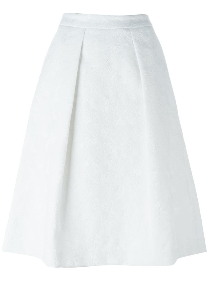 A Line Mid Rise Skirt, Women's, White - length: below the knee; pattern: plain; style: full/prom skirt; fit: loose/voluminous; waist: high rise; predominant colour: white; fibres: cotton - mix; occasions: occasion, creative work; hip detail: structured pleats at hip; texture group: cotton feel fabrics; pattern type: fabric; season: s/s 2016