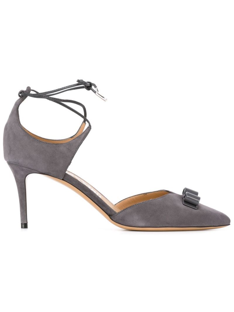 'carolyn' Pumps, Women's, Size: 7.5, Grey - predominant colour: mid grey; occasions: evening, occasion; material: suede; heel height: mid; ankle detail: ankle strap; heel: stiletto; toe: pointed toe; style: courts; finish: plain; pattern: plain; embellishment: bow; season: s/s 2016; wardrobe: event