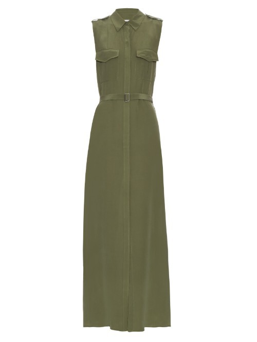 Major Sleeveless Silk Maxi Dress - neckline: shirt collar/peter pan/zip with opening; pattern: plain; sleeve style: sleeveless; style: maxi dress; waist detail: belted waist/tie at waist/drawstring; predominant colour: khaki; occasions: evening; length: floor length; fit: body skimming; fibres: silk - 100%; sleeve length: sleeveless; pattern type: fabric; texture group: other - light to midweight; season: s/s 2016; wardrobe: event