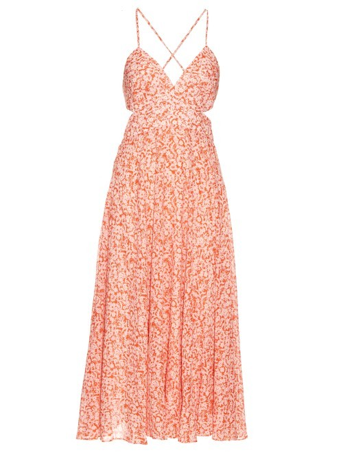 Provence Print Cotton Voile Maxi Dress - length: calf length; neckline: low v-neck; sleeve style: spaghetti straps; style: sundress; back detail: back revealing; predominant colour: coral; fit: fitted at waist & bust; fibres: cotton - 100%; occasions: occasion; sleeve length: sleeveless; pattern type: fabric; pattern size: standard; pattern: patterned/print; texture group: other - light to midweight; season: s/s 2016; wardrobe: event