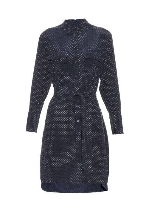 Delaney Micro Dot Print Silk Shirtdress - style: shirt; neckline: shirt collar/peter pan/zip with opening; pattern: polka dot; waist detail: belted waist/tie at waist/drawstring; predominant colour: navy; occasions: evening; length: just above the knee; fit: body skimming; fibres: silk - 100%; sleeve length: long sleeve; sleeve style: standard; texture group: silky - light; pattern type: fabric; season: s/s 2016; wardrobe: event