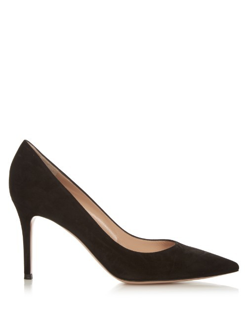 Gianvito Point Toe Suede Pumps - predominant colour: black; occasions: evening; material: suede; heel height: high; heel: stiletto; toe: pointed toe; style: courts; finish: plain; pattern: plain; season: s/s 2016; wardrobe: event