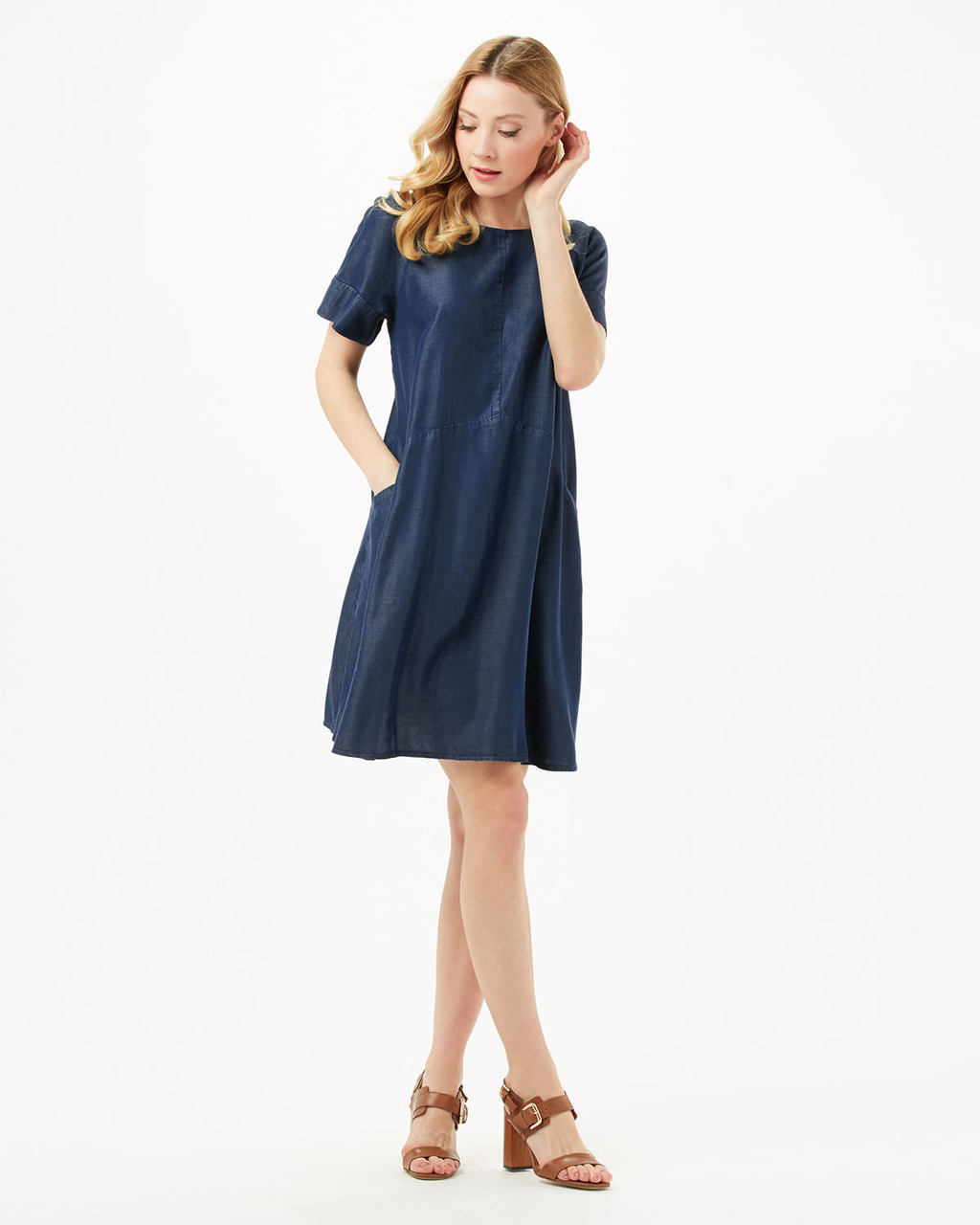 Chambray Zelda Dress - style: shift; pattern: plain; predominant colour: navy; occasions: casual; length: just above the knee; fit: soft a-line; fibres: cotton - 100%; neckline: crew; sleeve length: short sleeve; sleeve style: standard; texture group: denim; pattern type: fabric; season: s/s 2016; wardrobe: basic