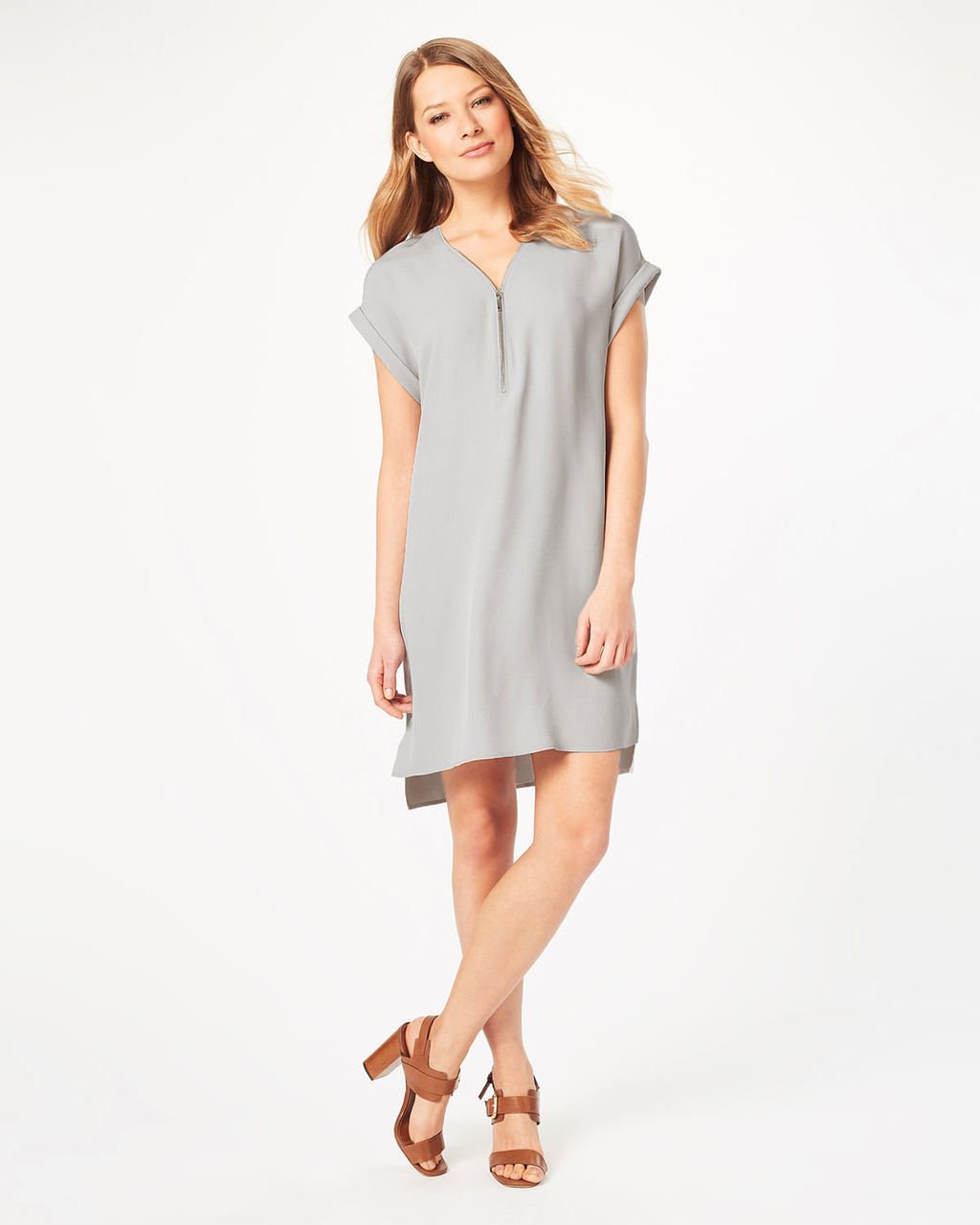 Remi Crepe Dress - style: shift; neckline: v-neck; pattern: plain; predominant colour: light grey; occasions: casual, creative work; length: just above the knee; fit: body skimming; sleeve length: short sleeve; sleeve style: standard; texture group: crepes; pattern type: fabric; fibres: viscose/rayon - mix; season: s/s 2016; wardrobe: basic
