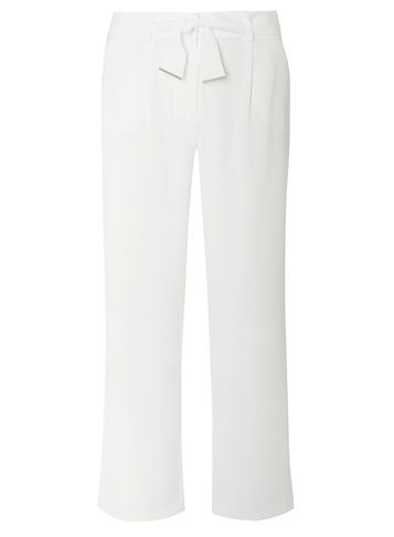 Womens Ivory Piped Palazzo Trousers White - length: standard; pattern: plain; style: palazzo; waist detail: belted waist/tie at waist/drawstring; waist: mid/regular rise; predominant colour: ivory/cream; occasions: casual; fibres: viscose/rayon - stretch; fit: wide leg; pattern type: fabric; texture group: woven light midweight; season: s/s 2016; wardrobe: basic