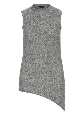 Womens Salt And Pepper Asymmetric Top Black - pattern: plain; sleeve style: sleeveless; neckline: high neck; length: below the bottom; predominant colour: charcoal; occasions: casual; style: top; fibres: acrylic - mix; fit: body skimming; sleeve length: sleeveless; pattern type: fabric; texture group: jersey - stretchy/drapey; season: s/s 2016; wardrobe: basic