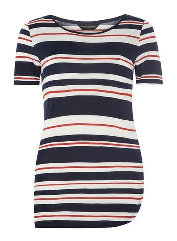 Womens Navy And Red Stripe Curve Hem Tee White - pattern: horizontal stripes; length: below the bottom; style: t-shirt; secondary colour: white; predominant colour: navy; occasions: casual; fibres: viscose/rayon - 100%; fit: body skimming; neckline: crew; sleeve length: short sleeve; sleeve style: standard; pattern type: fabric; texture group: jersey - stretchy/drapey; multicoloured: multicoloured; season: s/s 2016