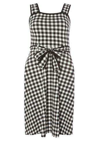 Womens White Gingham Tipped Sundress White - style: shift; neckline: round neck; sleeve style: sleeveless; pattern: checked/gingham; waist detail: belted waist/tie at waist/drawstring; secondary colour: white; predominant colour: black; occasions: casual; length: on the knee; fit: body skimming; fibres: cotton - stretch; sleeve length: sleeveless; pattern type: fabric; texture group: jersey - stretchy/drapey; season: s/s 2016; wardrobe: highlight