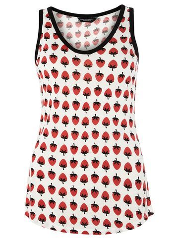Womens Ivory And Red Stawberry Print Vest White - sleeve style: sleeveless; style: vest top; predominant colour: ivory/cream; secondary colour: true red; occasions: casual; length: standard; fibres: viscose/rayon - 100%; fit: body skimming; neckline: crew; sleeve length: sleeveless; pattern type: fabric; pattern: patterned/print; texture group: jersey - stretchy/drapey; season: s/s 2016; wardrobe: highlight