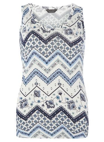 Womens Blue Floral Chevron Vest Blue - neckline: round neck; sleeve style: sleeveless; style: vest top; predominant colour: ivory/cream; secondary colour: navy; occasions: casual; length: standard; fibres: viscose/rayon - 100%; fit: body skimming; sleeve length: sleeveless; pattern type: fabric; pattern: patterned/print; texture group: jersey - stretchy/drapey; multicoloured: multicoloured; season: s/s 2016