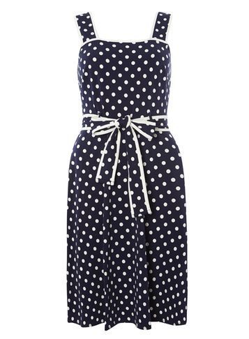 Womens Navy Spot Tipped Sundress Blue - style: tea dress; sleeve style: sleeveless; pattern: polka dot; waist detail: belted waist/tie at waist/drawstring; secondary colour: white; predominant colour: navy; occasions: evening; length: just above the knee; fit: body skimming; fibres: cotton - stretch; sleeve length: sleeveless; neckline: low square neck; pattern type: fabric; pattern size: light/subtle; texture group: jersey - stretchy/drapey; season: s/s 2016; wardrobe: event