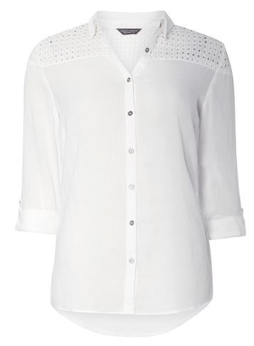 Womens Ivory Broderie Yoke Shirt White - neckline: shirt collar/peter pan/zip with opening; pattern: plain; style: shirt; predominant colour: ivory/cream; occasions: casual; length: standard; fibres: cotton - 100%; fit: body skimming; sleeve length: long sleeve; sleeve style: standard; texture group: cotton feel fabrics; pattern type: fabric; season: s/s 2016