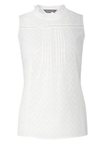Womens Ivory Broderie Victoriana Top White - pattern: plain; sleeve style: sleeveless; neckline: high neck; predominant colour: ivory/cream; occasions: casual; length: standard; style: top; fibres: cotton - 100%; fit: body skimming; sleeve length: sleeveless; pattern type: fabric; texture group: broiderie anglais; season: s/s 2016; wardrobe: highlight