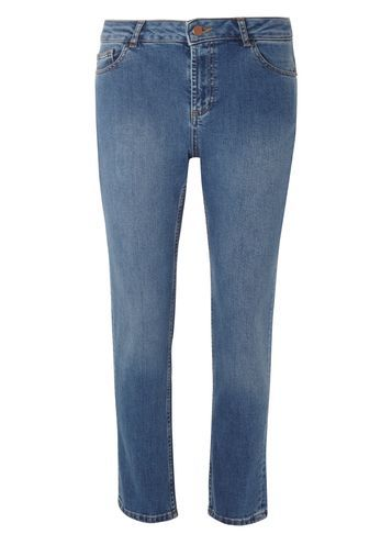 Womens New Midwash Fasion Straight Leg Jeans Blue - style: straight leg; length: standard; pattern: plain; pocket detail: traditional 5 pocket; waist: mid/regular rise; predominant colour: denim; occasions: casual; fibres: cotton - stretch; jeans detail: washed/faded; texture group: denim; pattern type: fabric; season: s/s 2016; wardrobe: basic