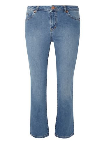 Womens New Midwash Cropped Kick Flare Jeans Blue - style: flares; pattern: plain; pocket detail: traditional 5 pocket; waist: mid/regular rise; predominant colour: denim; occasions: casual; length: ankle length; fibres: cotton - stretch; jeans detail: washed/faded; texture group: denim; pattern type: fabric; season: s/s 2016; wardrobe: basic
