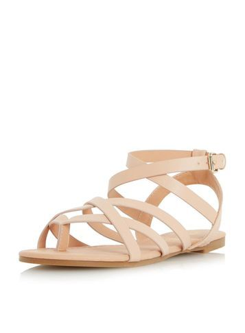 Womens **Head Over Heels 'lavella' Gladiator Sandals Black - predominant colour: ivory/cream; occasions: casual, holiday; material: faux leather; heel height: flat; ankle detail: ankle strap; heel: standard; toe: open toe/peeptoe; style: gladiators; finish: plain; pattern: plain; season: s/s 2016; wardrobe: basic