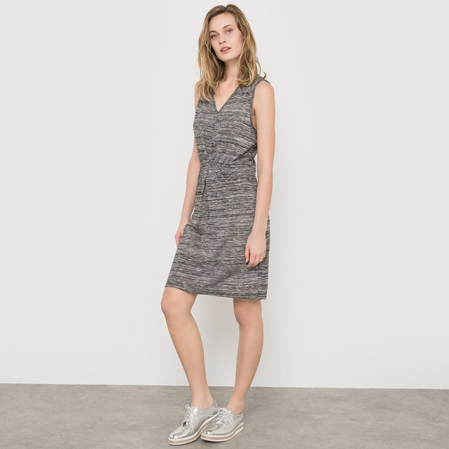 Shig Marl Dress - style: shift; neckline: v-neck; sleeve style: sleeveless; predominant colour: mid grey; occasions: casual; length: just above the knee; fit: body skimming; sleeve length: sleeveless; pattern type: fabric; texture group: jersey - stretchy/drapey; fibres: viscose/rayon - mix; pattern: marl; season: s/s 2016; wardrobe: basic