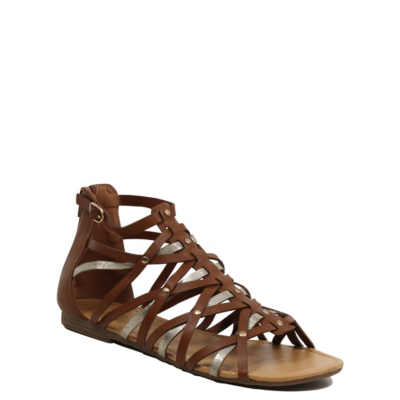 Studded Gladiator Sandals Tan - predominant colour: chocolate brown; occasions: casual, holiday; material: faux leather; heel height: flat; ankle detail: ankle strap; heel: block; toe: open toe/peeptoe; style: gladiators; finish: plain; pattern: plain; season: s/s 2016; wardrobe: basic