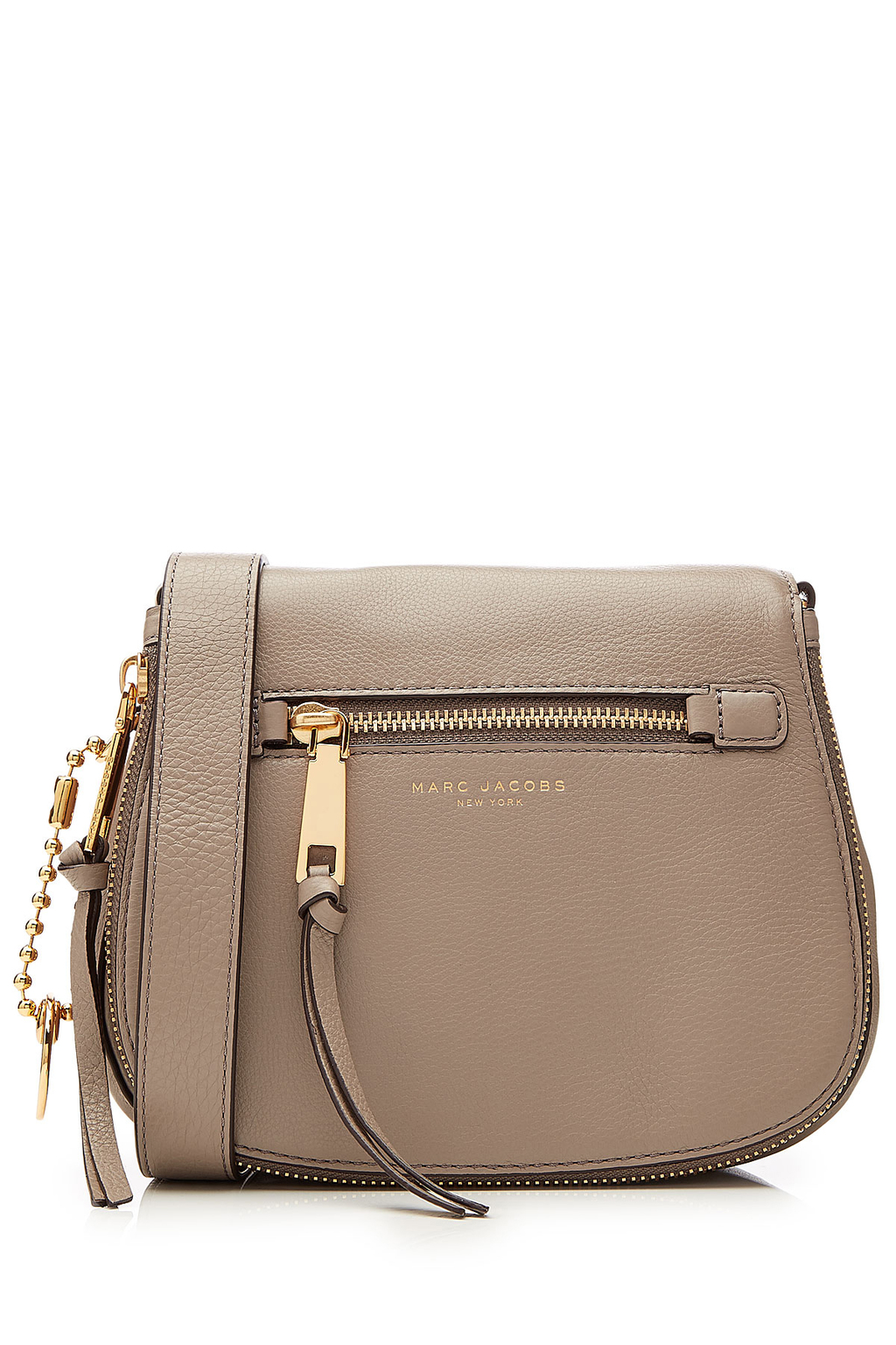 Recruit Small Leather Saddle Bag Grey - predominant colour: taupe; occasions: casual, creative work; type of pattern: standard; style: saddle; length: across body/long; size: small; material: leather; pattern: plain; finish: plain; season: s/s 2016; wardrobe: basic