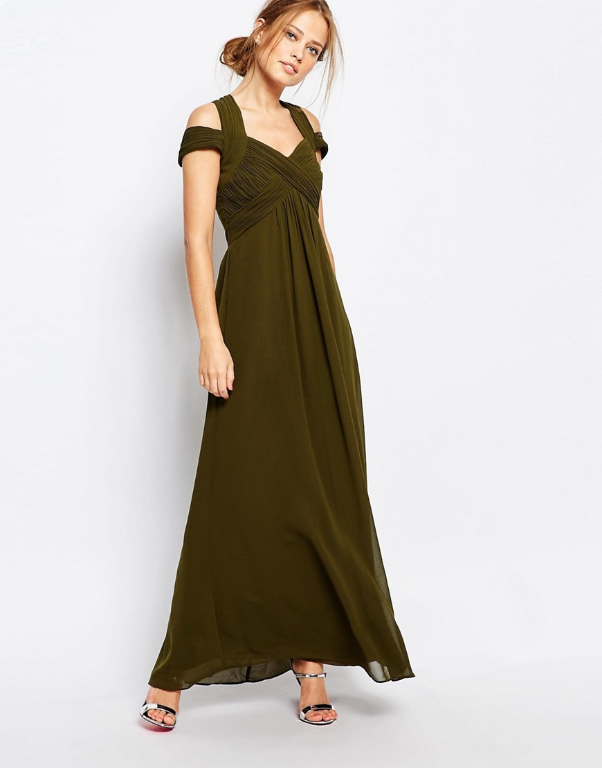 Crossover Empire Maxi Dress Olive Green - neckline: low v-neck; sleeve style: capped; pattern: plain; style: maxi dress; length: ankle length; hip detail: fitted at hip; predominant colour: khaki; occasions: evening; fit: body skimming; fibres: polyester/polyamide - 100%; shoulder detail: cut out shoulder; sleeve length: short sleeve; pattern type: fabric; texture group: jersey - stretchy/drapey; season: s/s 2016; wardrobe: event