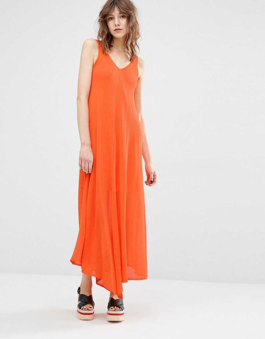 V Neck Long Midi Dress Orange - neckline: v-neck; pattern: plain; sleeve style: sleeveless; style: maxi dress; length: ankle length; predominant colour: bright orange; occasions: casual; fit: body skimming; sleeve length: sleeveless; pattern type: fabric; texture group: jersey - stretchy/drapey; fibres: viscose/rayon - mix; season: s/s 2016; wardrobe: highlight