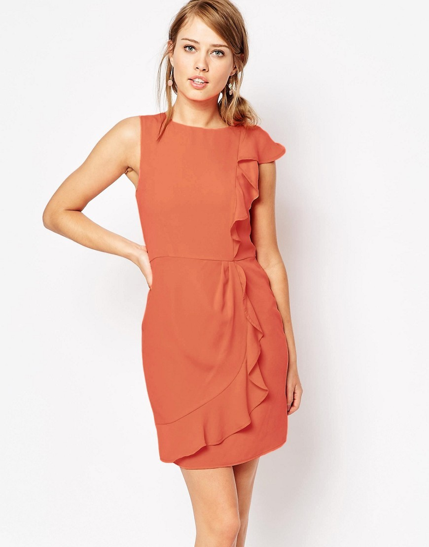 Frill Side Crepe Dress Apricot - style: shift; length: mid thigh; pattern: plain; sleeve style: sleeveless; predominant colour: terracotta; occasions: evening; fit: body skimming; fibres: polyester/polyamide - 100%; neckline: crew; sleeve length: sleeveless; texture group: crepes; pattern type: fabric; season: s/s 2016; wardrobe: event