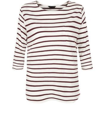 Red Stripe 3/4 Sleeve Top - pattern: horizontal stripes; predominant colour: white; secondary colour: black; occasions: casual; length: standard; style: top; fibres: cotton - 100%; fit: body skimming; neckline: crew; sleeve length: 3/4 length; sleeve style: standard; pattern type: fabric; texture group: jersey - stretchy/drapey; multicoloured: multicoloured; season: s/s 2016; wardrobe: basic