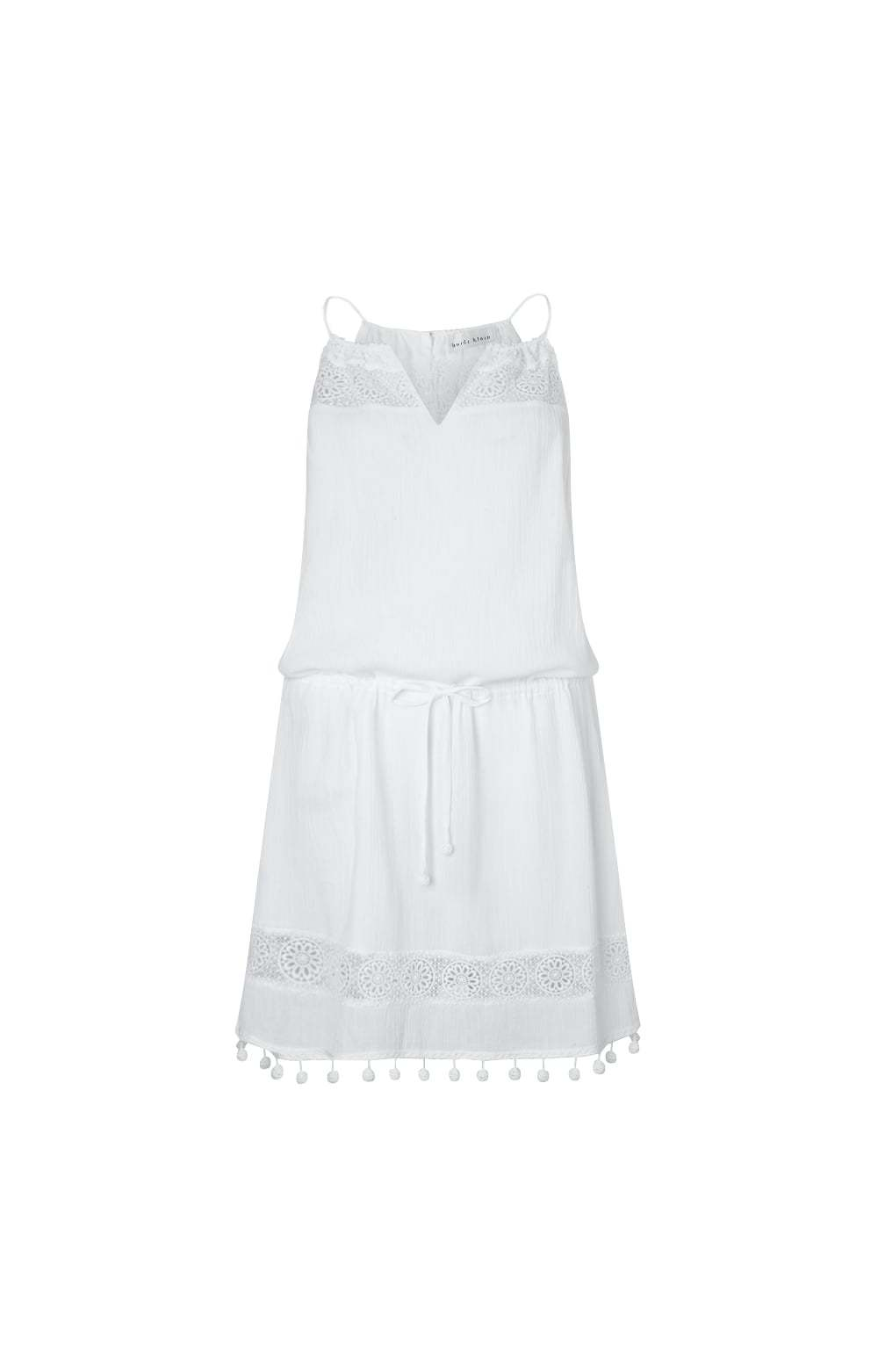 White Long Island Crochet Day Dress Size: - length: mid thigh; neckline: v-neck; fit: fitted at waist; sleeve style: sleeveless; style: sundress; waist detail: belted waist/tie at waist/drawstring; predominant colour: white; occasions: casual; fibres: cotton - 100%; sleeve length: sleeveless; texture group: cotton feel fabrics; pattern type: fabric; pattern size: standard; pattern: patterned/print; embellishment: lace; season: s/s 2016; wardrobe: highlight