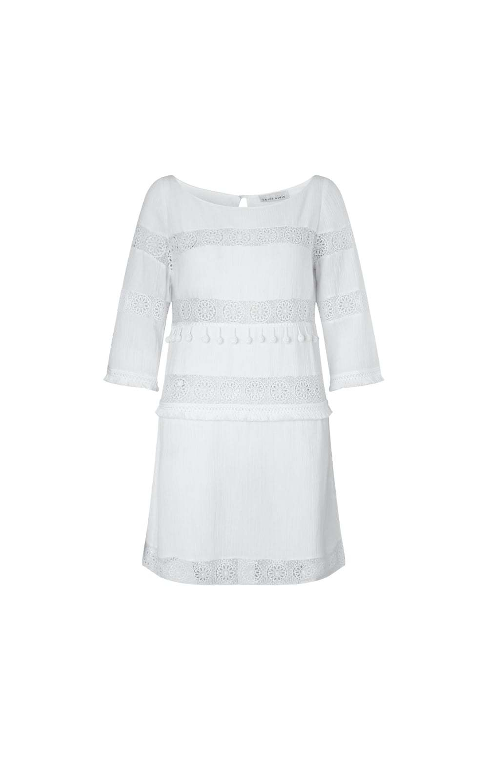 White Long Island Crochet Smock Dress Size: - style: shift; neckline: slash/boat neckline; pattern: plain; predominant colour: white; occasions: casual; length: just above the knee; fit: soft a-line; fibres: cotton - 100%; sleeve length: 3/4 length; sleeve style: standard; texture group: knits/crochet; pattern type: knitted - fine stitch; season: s/s 2016; wardrobe: basic