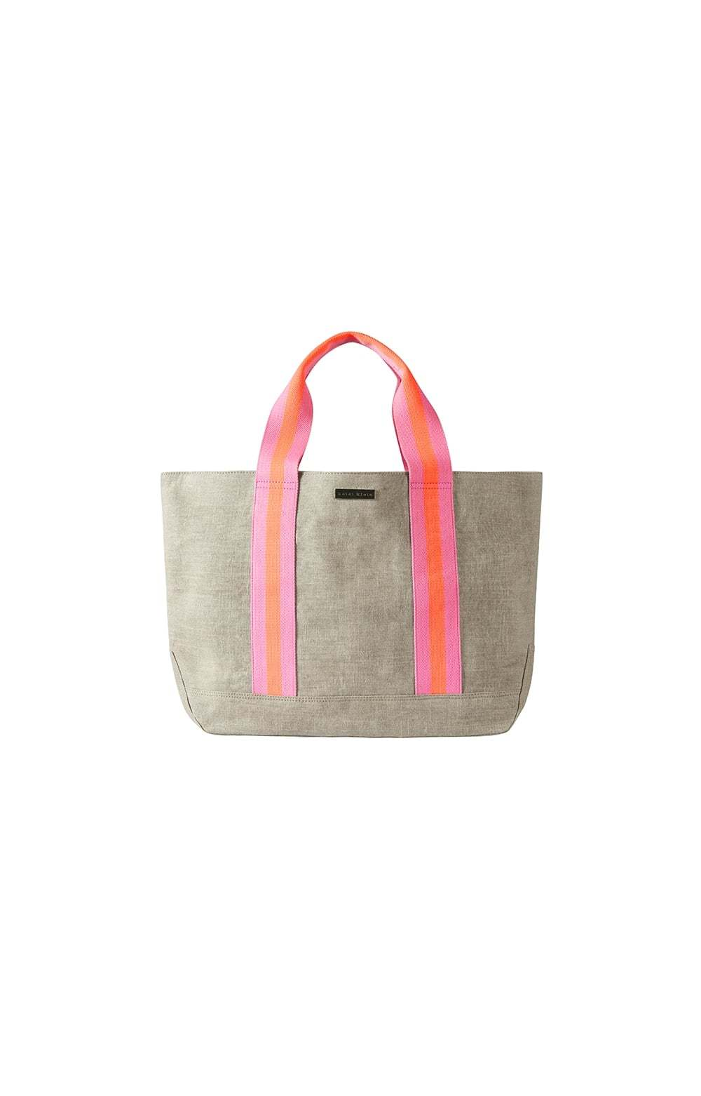 Bimini Stripe Canvas Beach Tote Pink - predominant colour: pink; secondary colour: taupe; occasions: casual, holiday; type of pattern: standard; style: tote; length: handle; size: oversized; material: fabric; pattern: plain; finish: plain; season: s/s 2013
