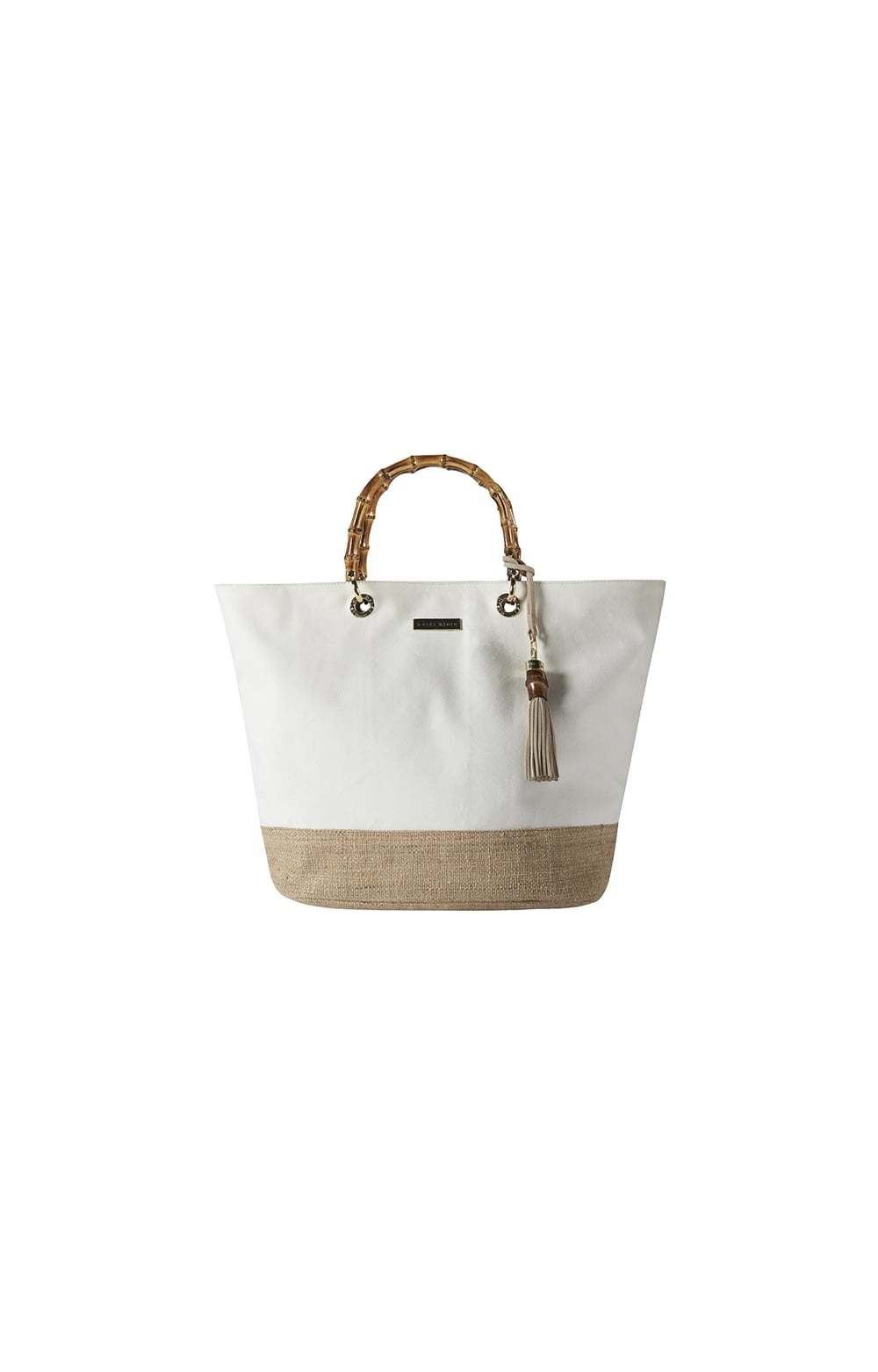 Natural Savannah Bay White Medium Bamboo Bag - predominant colour: white; secondary colour: camel; occasions: casual, creative work; type of pattern: standard; style: tote; length: handle; size: oversized; material: leather; embellishment: tassels; finish: plain; pattern: colourblock; season: s/s 2013