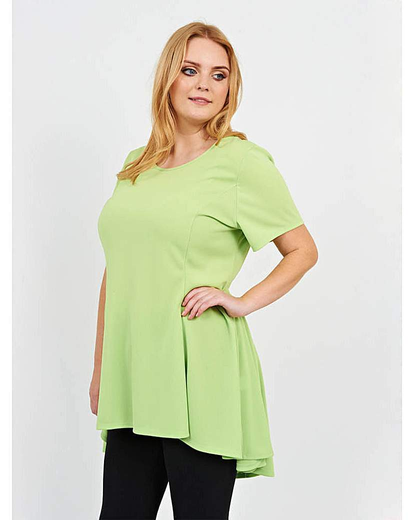 Koko Swing Tunic - neckline: round neck; pattern: plain; length: below the bottom; style: t-shirt; predominant colour: lime; occasions: casual; fibres: cotton - stretch; fit: loose; sleeve length: short sleeve; sleeve style: standard; pattern type: fabric; texture group: jersey - stretchy/drapey; season: s/s 2016; wardrobe: highlight
