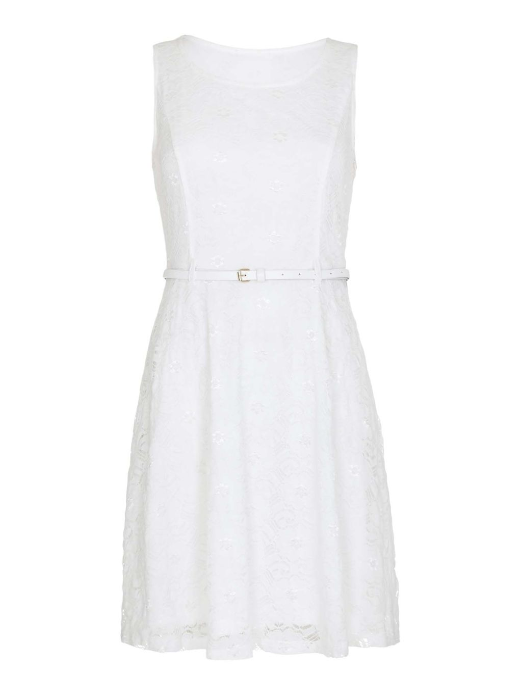 Lace Skater Dress, White - sleeve style: sleeveless; predominant colour: white; length: on the knee; fit: fitted at waist & bust; style: fit & flare; fibres: polyester/polyamide - stretch; occasions: occasion; neckline: crew; sleeve length: sleeveless; texture group: lace; pattern type: fabric; pattern size: light/subtle; pattern: patterned/print; season: s/s 2016; wardrobe: event