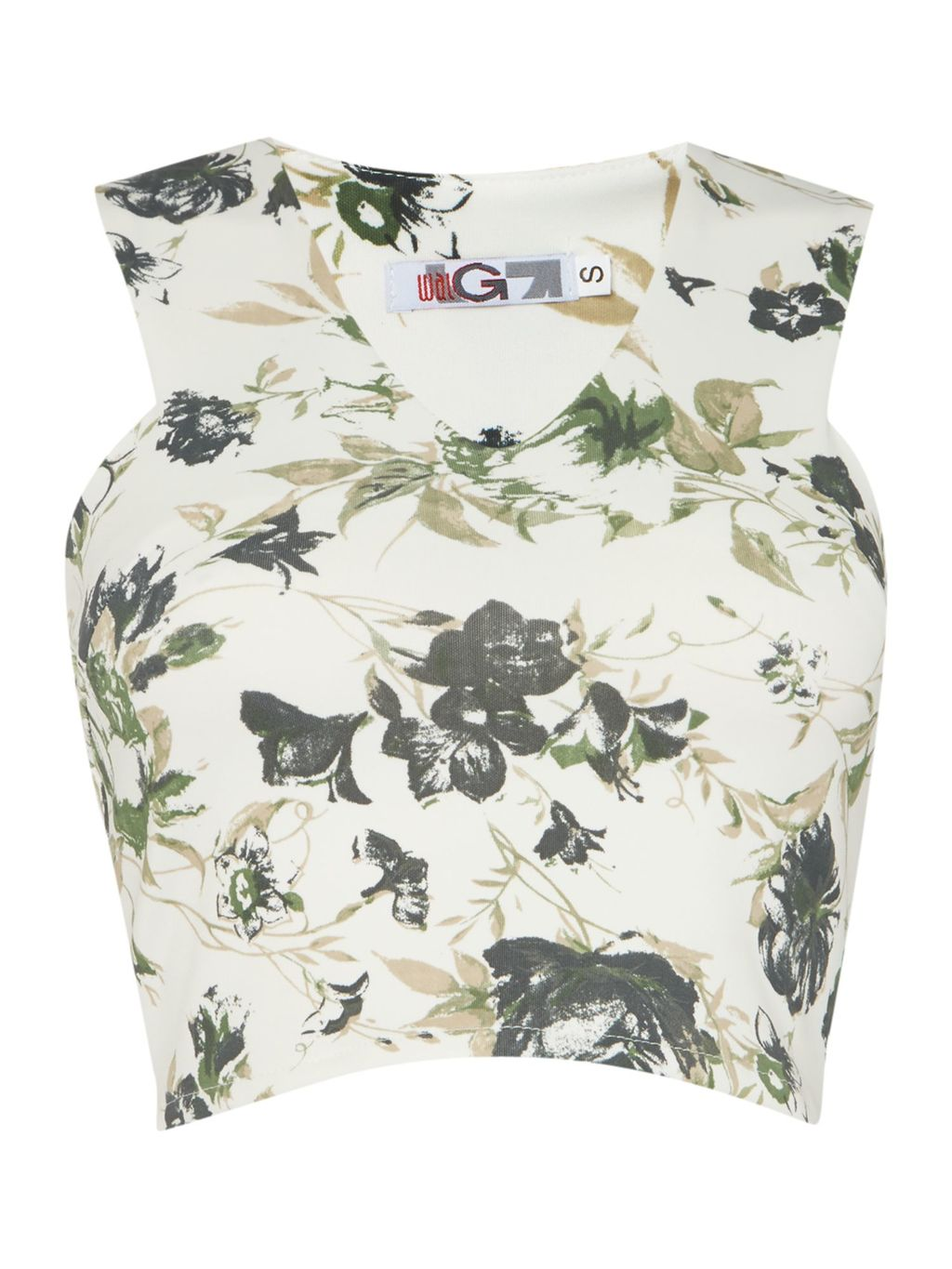 Sleeveless Crop Top, Multi Coloured - neckline: v-neck; sleeve style: sleeveless; length: cropped; predominant colour: ivory/cream; secondary colour: charcoal; occasions: evening; style: top; fibres: polyester/polyamide - 100%; fit: tailored/fitted; sleeve length: sleeveless; pattern type: fabric; pattern size: standard; pattern: florals; texture group: woven light midweight; multicoloured: multicoloured; season: s/s 2016; wardrobe: event