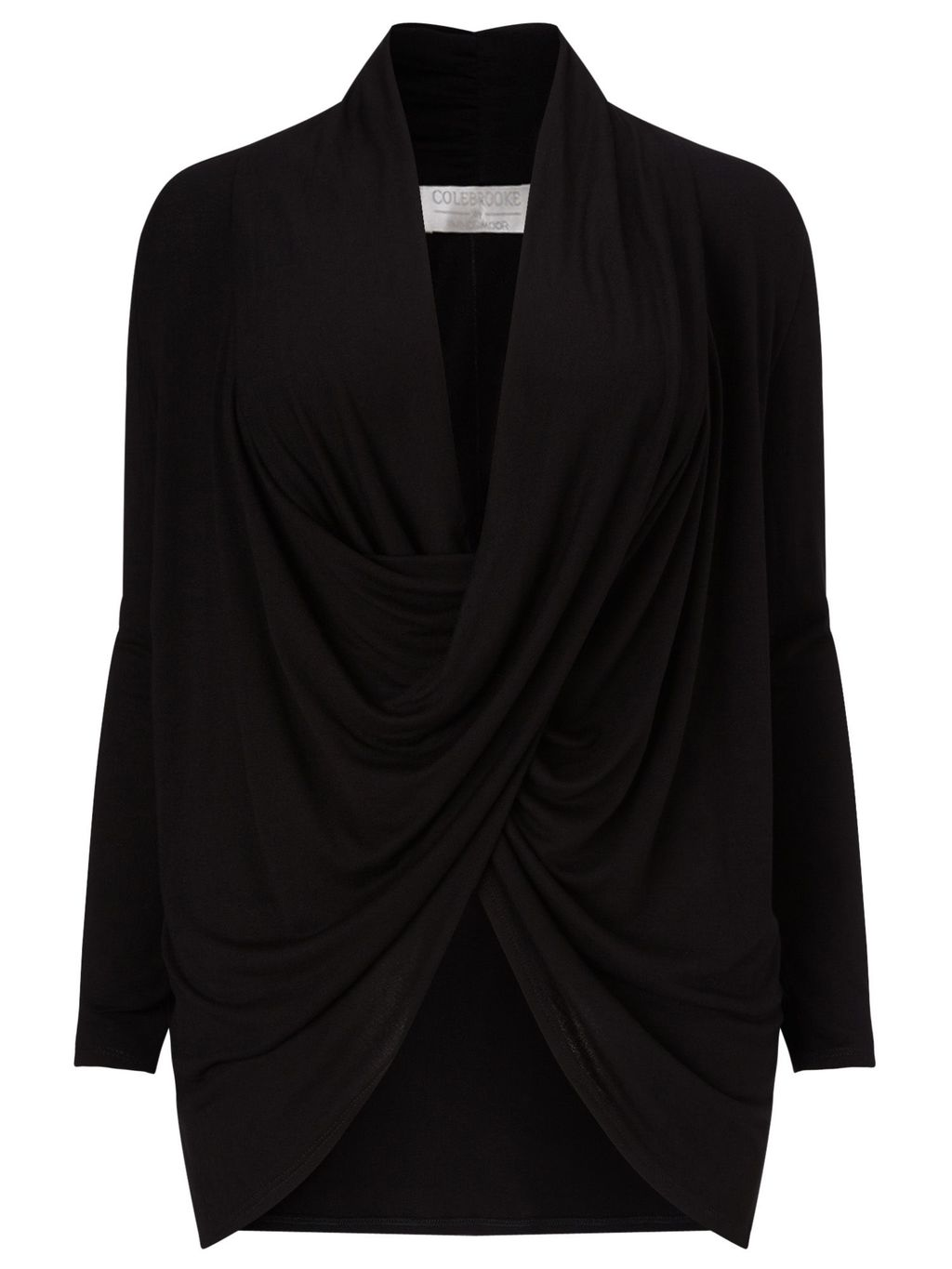 Black Drape Front Top, Black - neckline: v-neck; pattern: plain; predominant colour: black; occasions: evening; length: standard; style: top; fibres: viscose/rayon - 100%; fit: body skimming; sleeve length: long sleeve; sleeve style: standard; pattern type: fabric; texture group: jersey - stretchy/drapey; season: s/s 2016; wardrobe: event