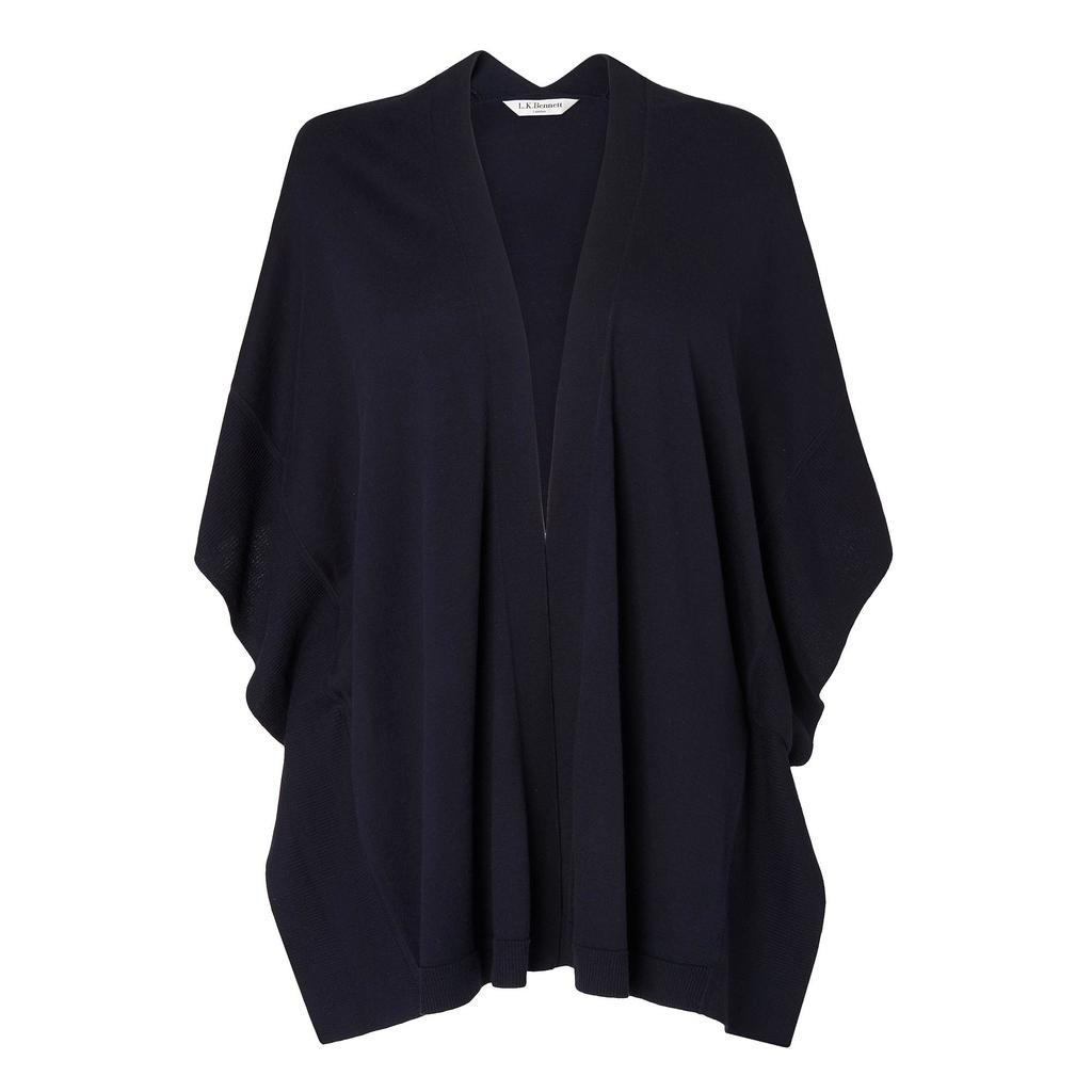 Dita Kimono Sleeve Cardigan - sleeve style: dolman/batwing; pattern: plain; neckline: waterfall neck; style: open front; predominant colour: navy; occasions: casual, work, creative work; fibres: silk - mix; fit: loose; length: mid thigh; sleeve length: 3/4 length; texture group: knits/crochet; pattern type: knitted - fine stitch; season: s/s 2016; wardrobe: basic