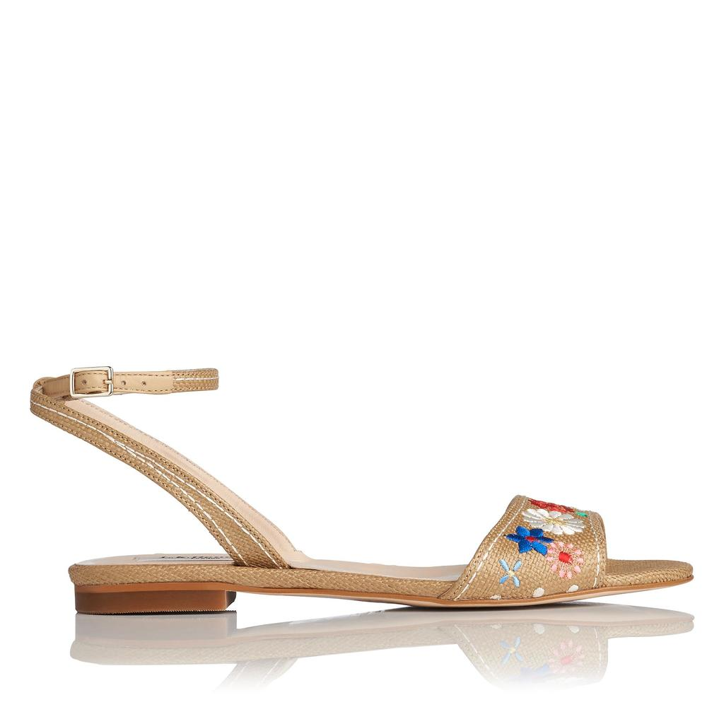 Eve Flat Raffia Sandals - predominant colour: camel; occasions: casual, holiday; material: leather; heel height: flat; embellishment: embroidered; ankle detail: ankle strap; heel: block; toe: open toe/peeptoe; style: strappy; finish: plain; pattern: plain; season: s/s 2016; wardrobe: highlight