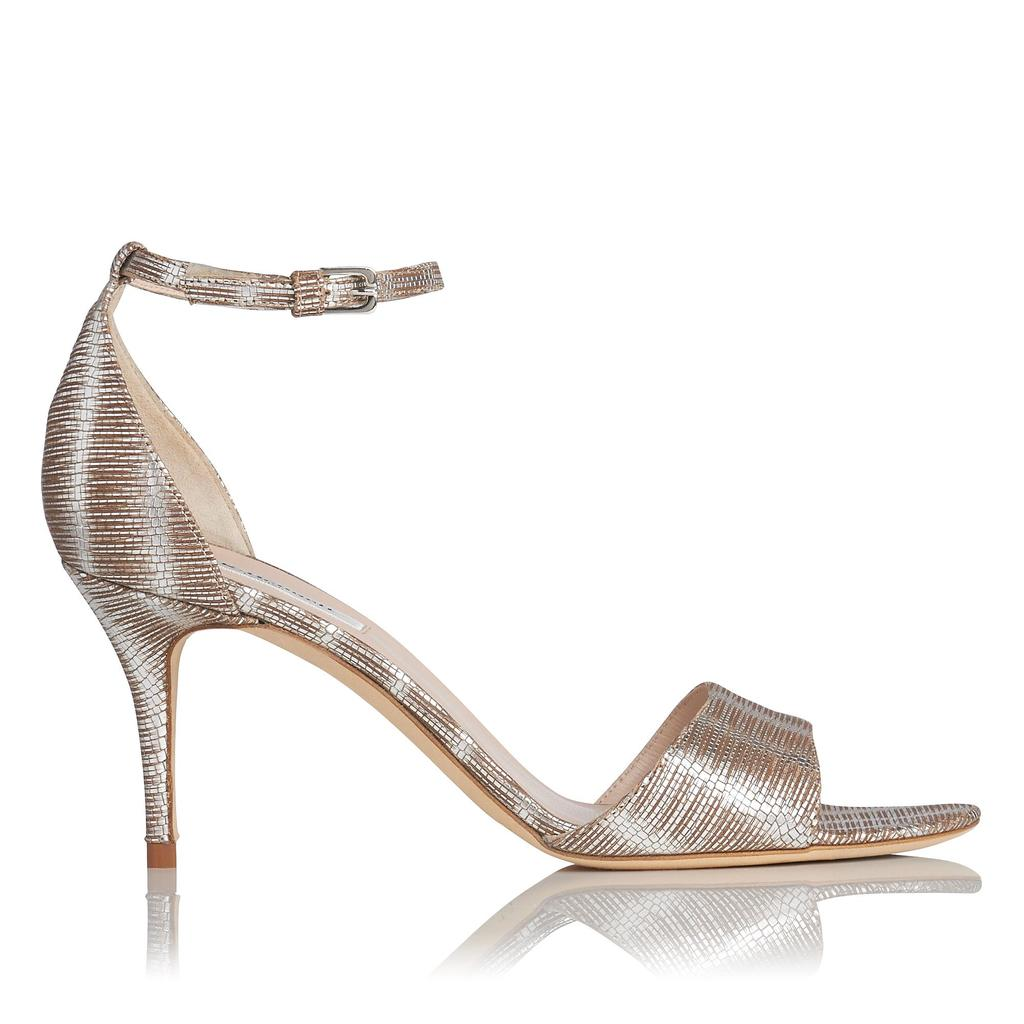 Mya Silver Heeled Sandals - secondary colour: white; predominant colour: silver; occasions: occasion; material: leather; heel height: mid; ankle detail: ankle strap; heel: stiletto; toe: open toe/peeptoe; style: standard; finish: metallic; pattern: plain; season: s/s 2016; wardrobe: event