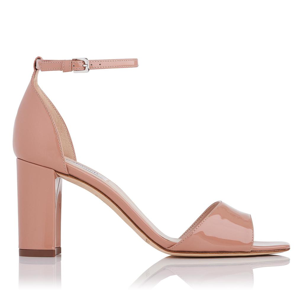Helena Fawn Block Heel Sandals - occasions: evening, occasion, creative work; material: leather; heel height: high; ankle detail: ankle strap; heel: block; toe: open toe/peeptoe; style: courts; finish: patent; pattern: plain; predominant colour: dusky pink; season: s/s 2016; wardrobe: highlight